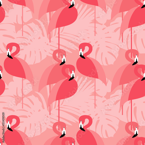 Cotton fabric Seamless vector background. Pink Flamingo on a tropical background.