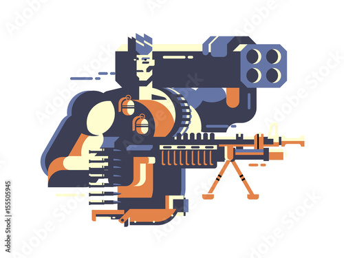 Soldier with gun Wallpaper Mural