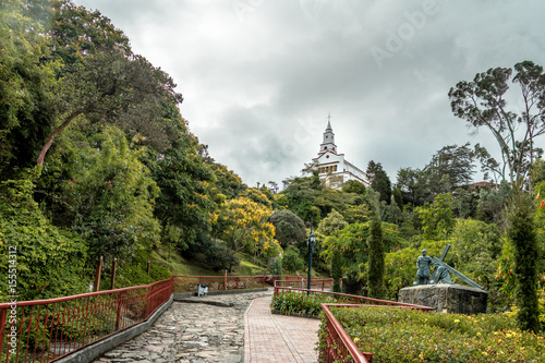 Canvas Prints South America Country Walkway on top of Monserrate Hill with Monserrate Church on background - Bogota, Colombia