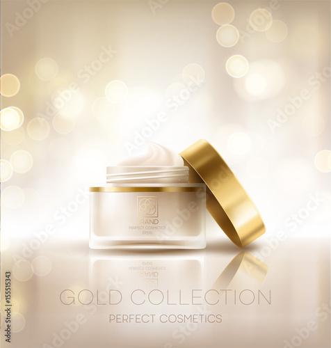 Fotografía  Design cosmetics product advertising. Vector illustration