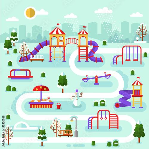 Flat Design Winter Nature Landscape Of Park Map With Kids