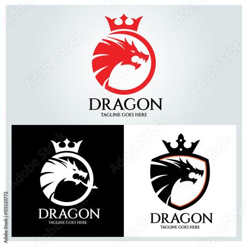 dragon logo design template dragon shield logo design concept
