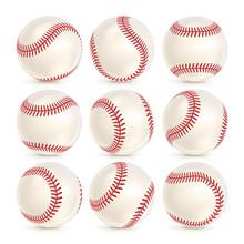 Baseball Leather Ball Close-up Set Isolated On White. SoftBall Base Ball. Realistic Baseball Icon. Vector Illustration