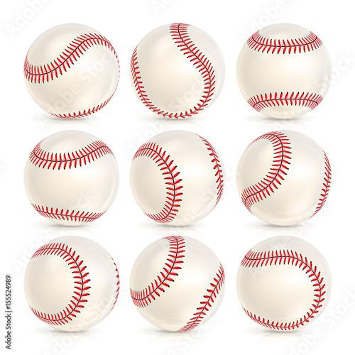 Photo  Baseball Leather Ball Close-up Set Isolated On White