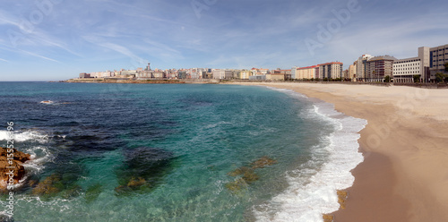 Panoramic view of Orzan beach in La Coruna, Spain