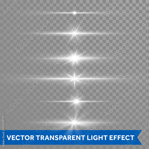 Photographie Light shine effect or starlight lens flare vector isolated icons transparent bac