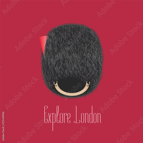 Photo  Queen's guard, beefeater traditional hat vector illustration.