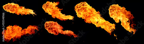 Recess Fitting Fire / Flame High resolution collection of flame, six large flames isolated on a black background