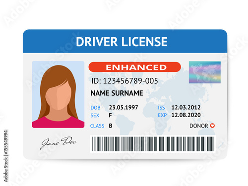 Flat woman driver license plastic card template, id card vector ...