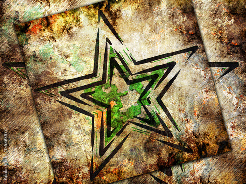 Abstract star on military background - 155563977