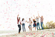 canvas print picture Group of young people celebrating at the beach