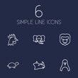 Set Of 6 Alive Outline Icons Set.Collection Of Elephant, Turtle, Lion And Other Elements.