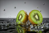 Kiwi with water drops on grey background