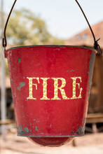 Hanging Antique Red Fire Bucket