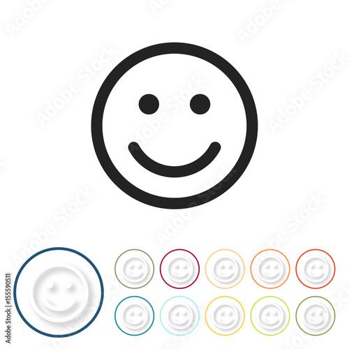 Fotografie, Obraz  Bunte 3D Buttons - Smiley glücklich