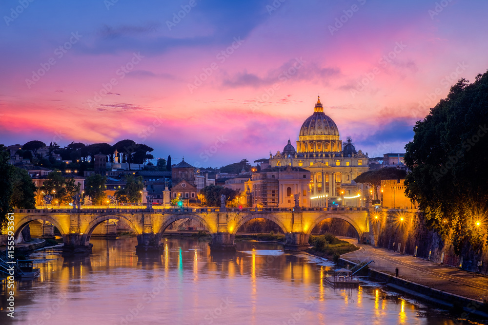 Fototapety, obrazy: Famous cityscape view of St Peters basilica in Rome at sunset