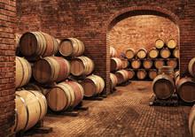 Wine Barrels In Wine-vaults In...