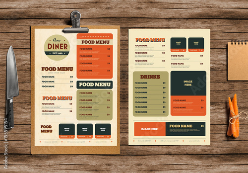 Retro Diner Menu Layout 1  Buy this stock template and explore