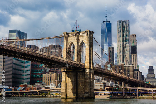 Keuken foto achterwand Bruggen Brooklyn Bridge and Manhattan skyline