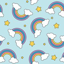 Pastel Rainbow And Stars Seaml...