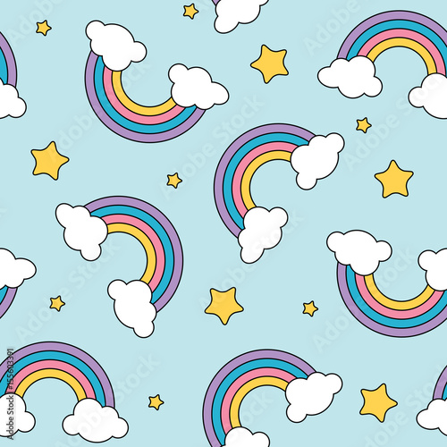 Pastel rainbow and stars seamless pattern on blue background with black outline #155603391