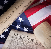 Historical United States Documents And The American Flag