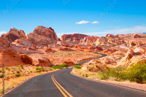 Tuinposter Natuur Park Road through Valley of Fire State Park in Nevada