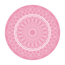 Pink Mandala Ornament Round Arabic Culture Design Vector Illustration