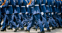 US Soldiers In Blue Dress Unif...