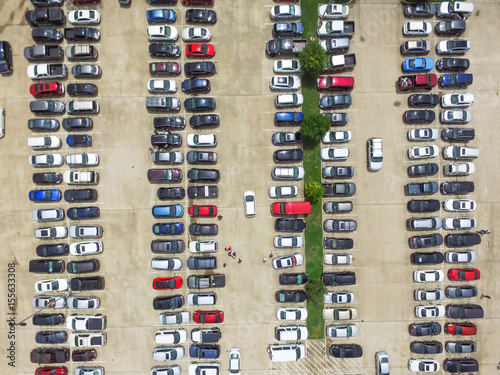 Car Lots In Houston >> Aerial View Full Cars At Large Outdoor Parking Lots In