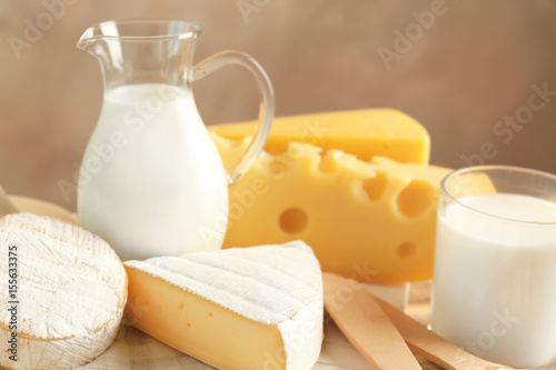 Fotobehang Zuivelproducten Dairy products on table, closeup
