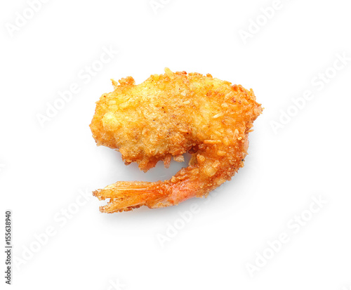 Delicious coconut shrimp on white background