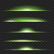 Set of Green glowing light effect. Isolated on black transparent background. Vector illustration, eps 10.