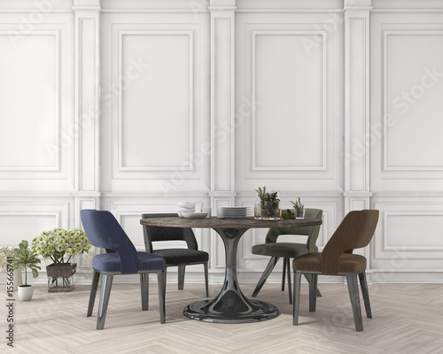 Fotografía  3d rendering colorful chair and dining table in classic white dining room