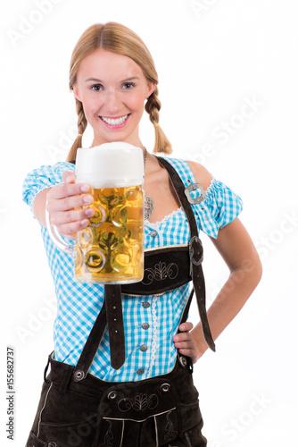 Plakát  frau mit bierkrug trägt lederhosen