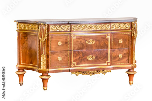 Vintage wooden old style bureau. isolated on white background buy