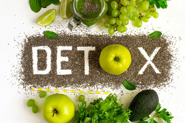 Word detox is made from chia seeds. Green smoothies and ingredie