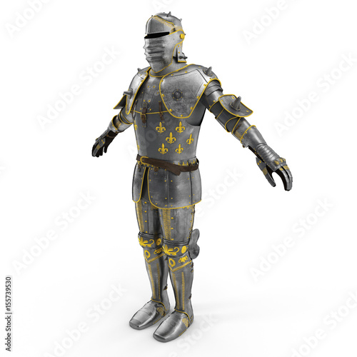 Photo Old metal knight armour isolated on white. 3D illustration