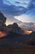 Mount Bromo volcano (Gunung Bromo) eruption during sunrise from viewpoint on Mount Penanjakan. Mount Bromo located in Bromo Tengger Semeru National Park, East Java, Indonesia.