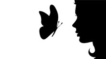 Vector Silhouette Of Girl With...