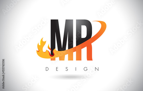 MR M R Letter Logo with Fire Flames Design and Orange Swoosh. Canvas Print