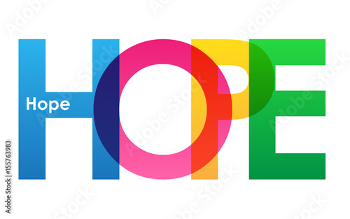 Photo  HOPE colourful vector letters icon