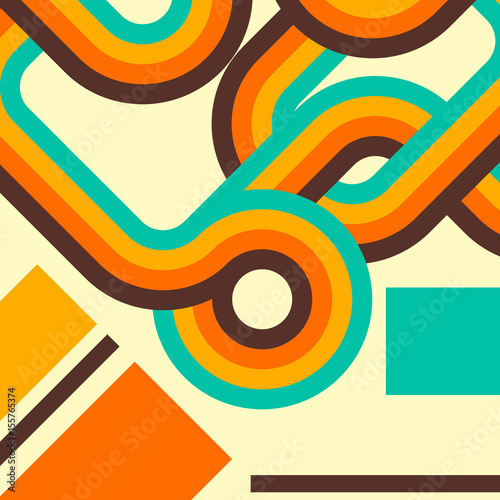 Motiv-Fußmatte - Abstract retro background, digital lines and circles, design 70s. (von Itana)
