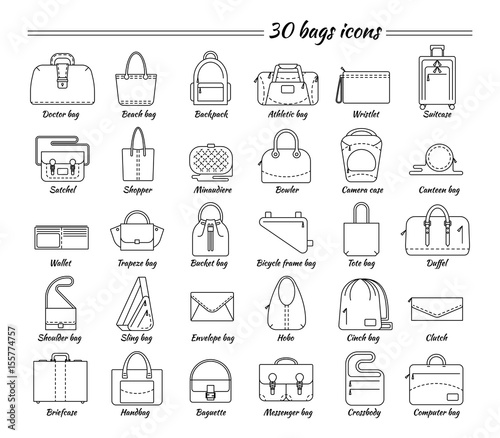 Set of 30 line icons. Different types of bag. Women s and men s handbag 05ba27430ca2