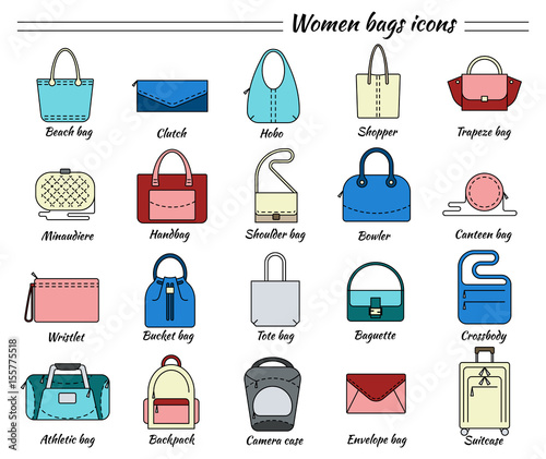 Set Of 20 Colorful Pictures In Linear Style Diffe Types Women Bags Beach
