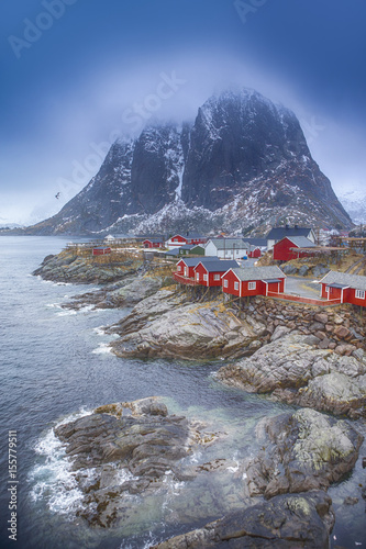 Deurstickers Noord Europa Travel Concepts and Ideas. Traditional Fishing Hut Village in Hamnoy During Early Spring Time in Lofoten Islands, Norway.