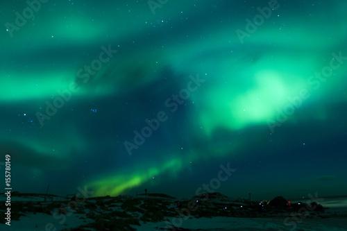 Poster Antarctique Picturesque Unique Northern Lights Aurora Borealis Over Lofoten Islands in Nothern Part of Norway.