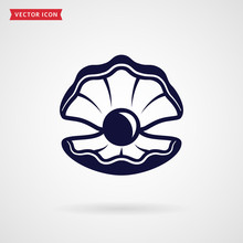 Sea Pearl In The Shell. Vector Icon.
