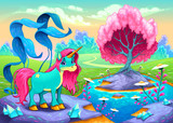 Fototapeta Pokój dzieciecy - Happy unicorn in a landscape of dreams
