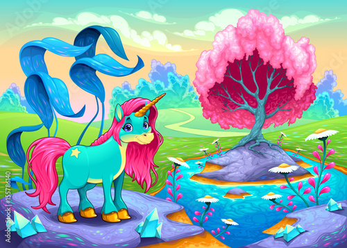 Happy unicorn in a landscape of dreams